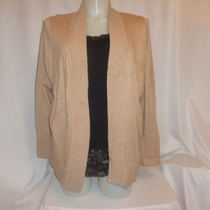 Cardigan Sweater 2X 3X Tan Open Front Plus Size